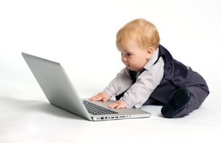 Baby surfing internet