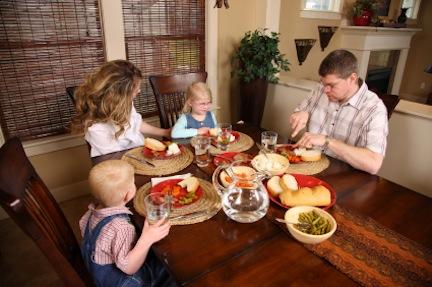 Family having dinner together